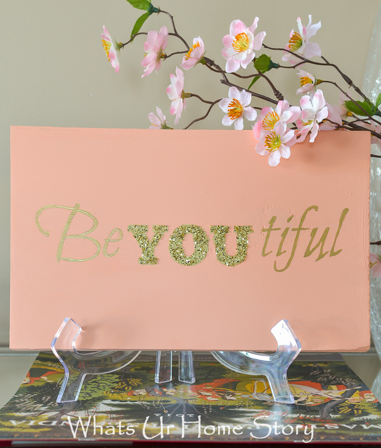DIY beyoutiful sign made with wood scrap, chalky finish paint, gold craft paint, and glitter. Downloadable stencil.