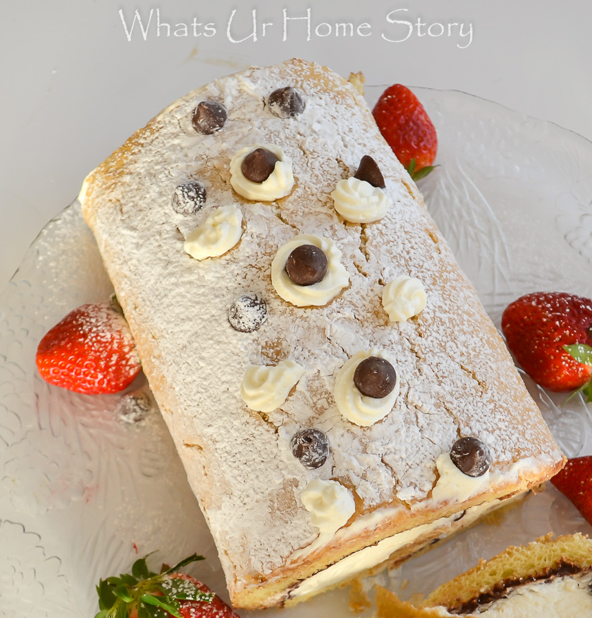 caramel cream cake roll with chocolate ganache filling
