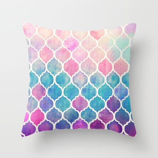 watercolor home decor - Rainbow Pastel Watercolor Moroccan Pillow