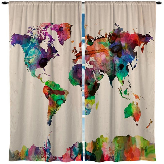 watercolor home decor - Watercolor World Map Curtain