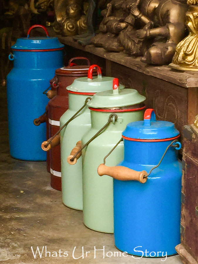 antiquing in Jew town-colorful milk cans