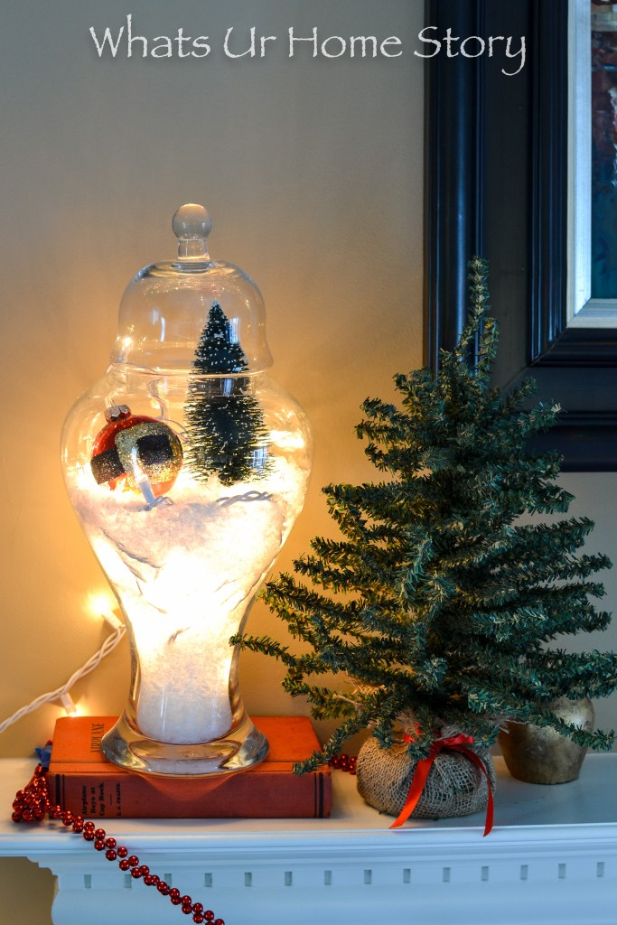 How to Make a Snow Globe Terrarium; Christmas Apothecary Jars are great on a mantel!