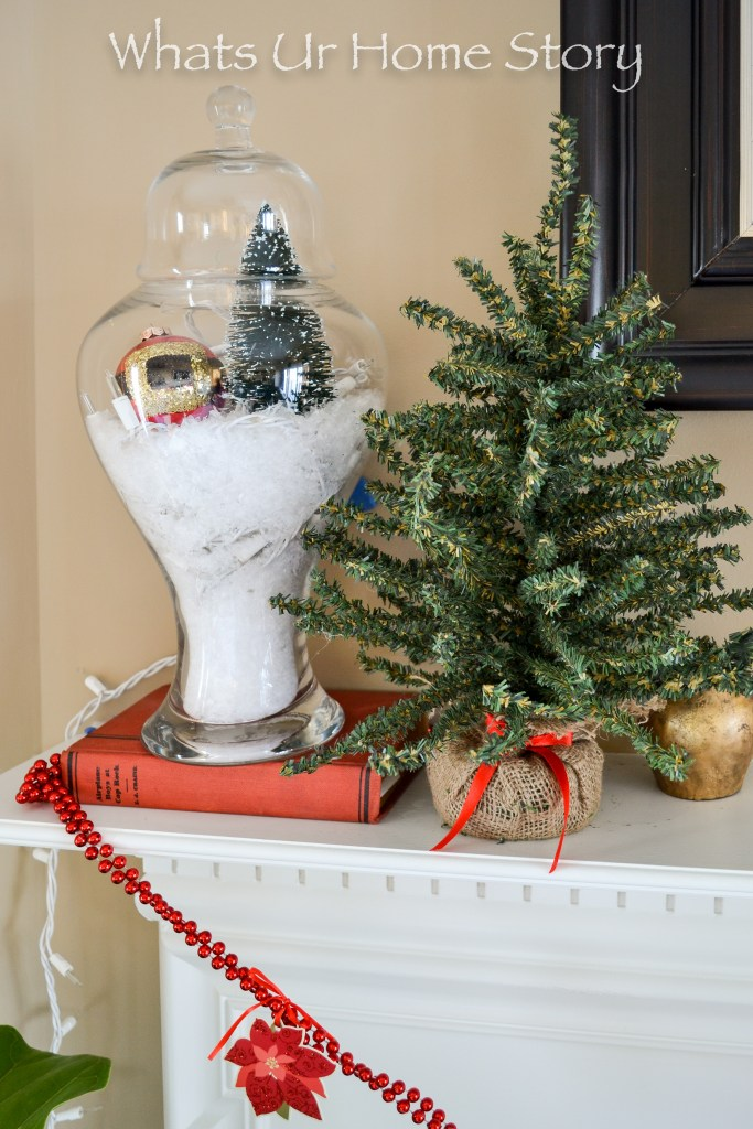 Christmas decorating with apothecary jars; How to Make a Snow Globe Terrarium