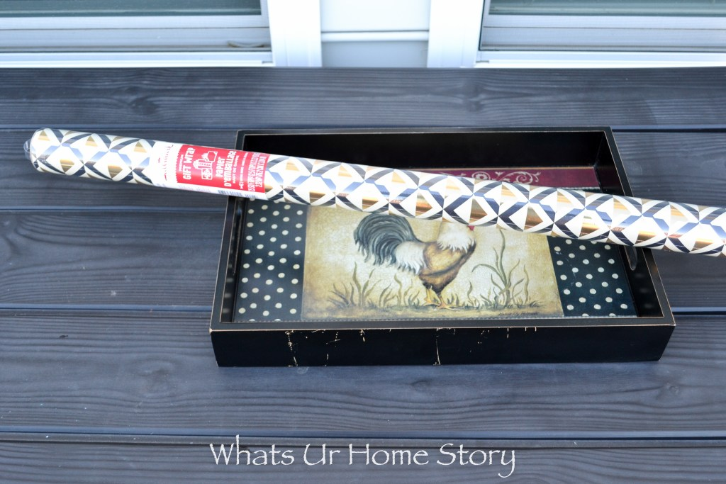 How to makeover an old tray with spray paint and wrapping paper tutorial