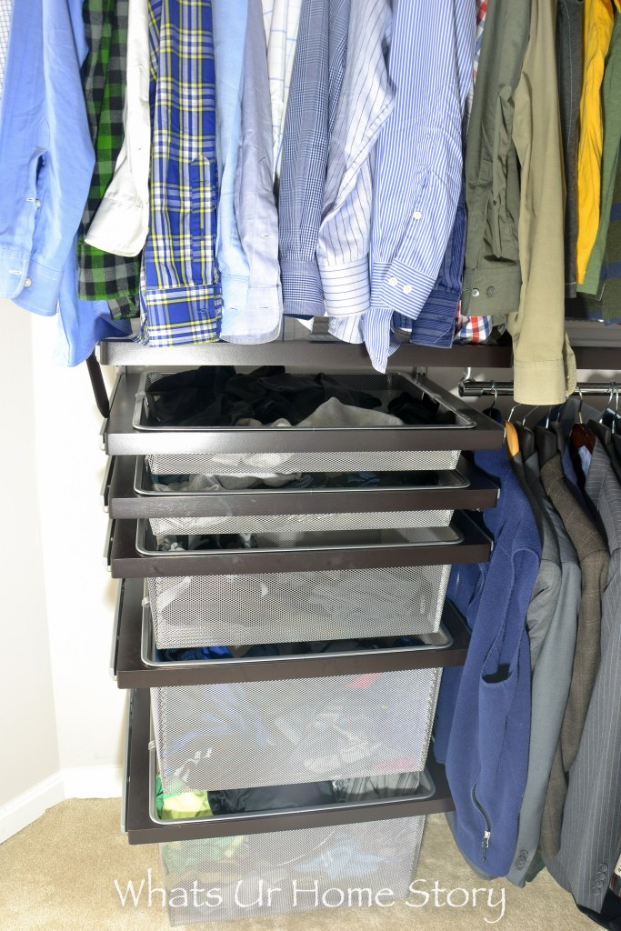 closet makeover with elfa system -elfa bins