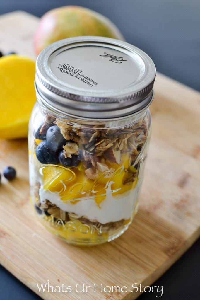 The easiest breakfast recipe you will ever make -Blueberry Mango Yogurt Parfait