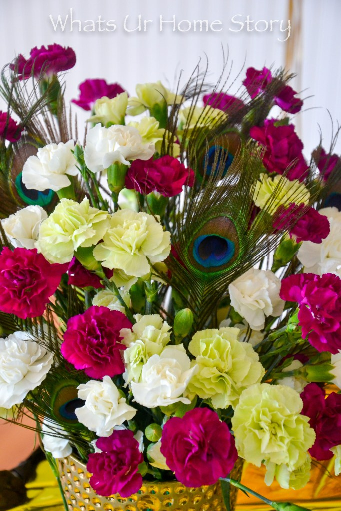 Peacock party decorations -peacock centerpiece -peacock flower arrangement