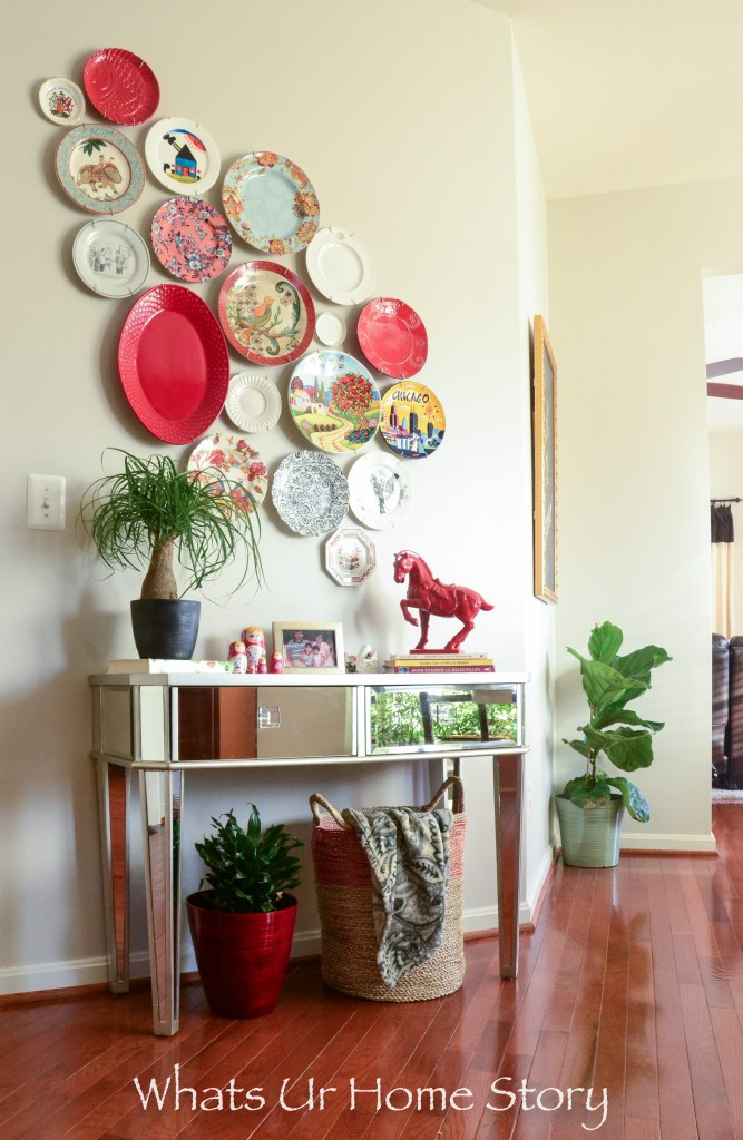 Show off your plate collection by hanging them on a wall -ponytail palm