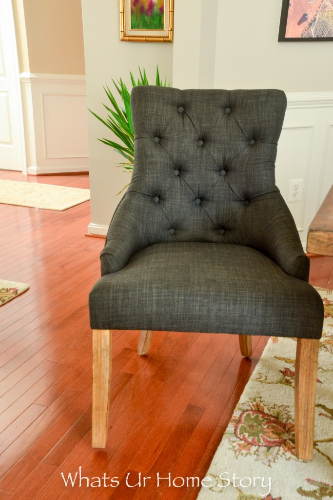 Gray tufted dining chair from Overstock -SIGNAL HILLS Benchwright Button Tufts Wingback Hostess Chairs