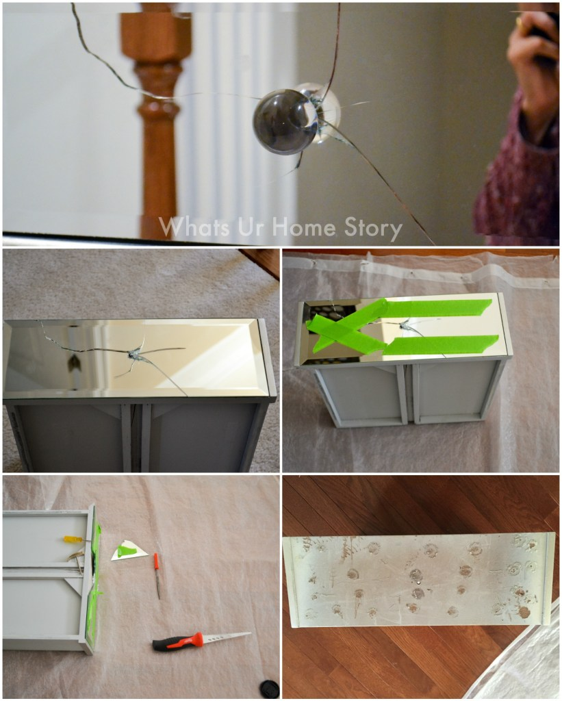 How to remove a cracked mirror from a mirrored table drawer front