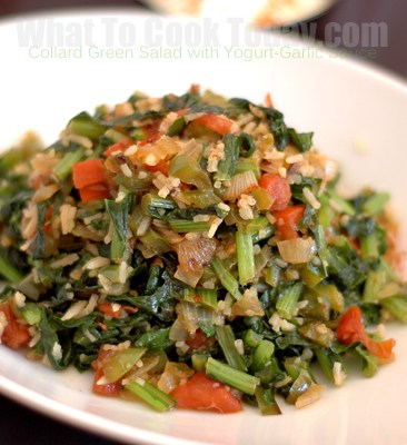 COLLARD GREENS SALAD WITH YOGURT-GARLIC SAUCE/ KARA LAHANA SALATASI