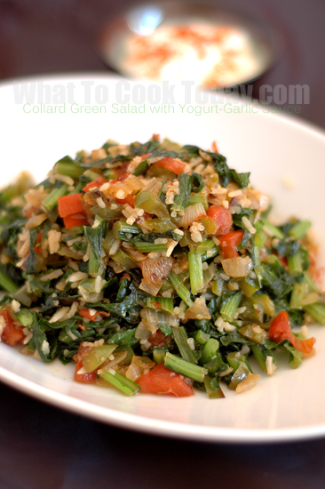Collard Greens Salad with Yogurt-Garlic Sauce