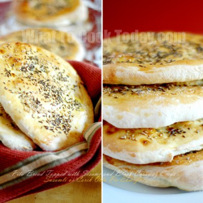 PITA BREAD WITH SESAME AND BLACK CARAWAY SEEDS/ SUSAMLI VE COREK OTLU PIDE EKMEGI
