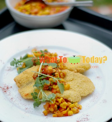 CRISPY FISH AND CORN SALSA