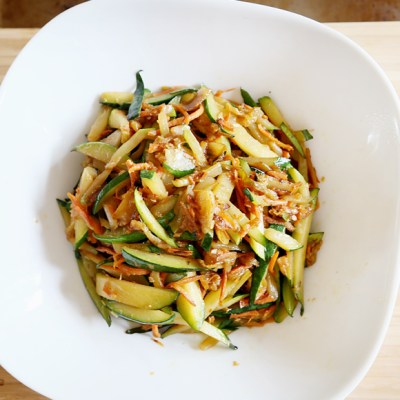 STIR-FRIED SHREDDED ZUCCHINI WITH DRIED SHRIMPS