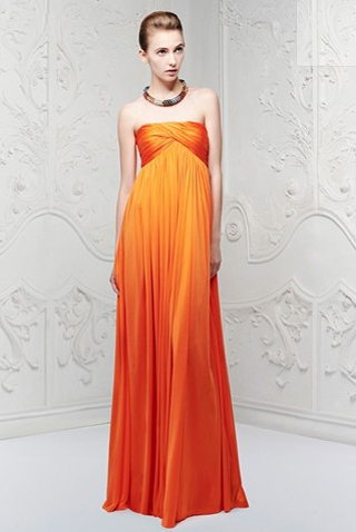 Alexander McQueen Spring/Summer 2013 Orange Ready to Wear Dress