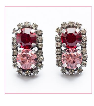 Rebekah Price ruby red crystal ebay earrings