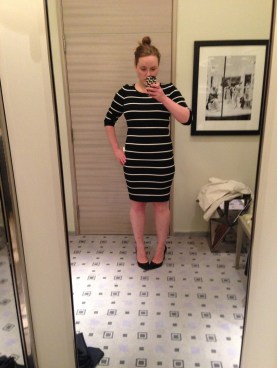 Trying on the Pink Tartan Black White Stripe Dress