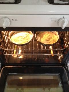 Victoria sponge-cakes in oven