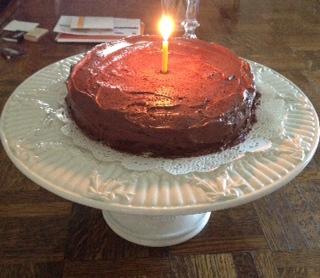 Devil food cake-candle