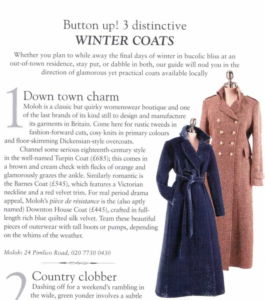 Details of the Moloh Turpin Coat from the Belgravia Residents Journal