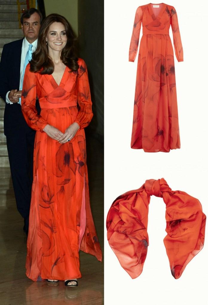 Kate Middleton Red Poppy Dress Bhutan