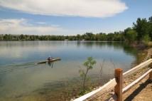 Relaxing lake in town