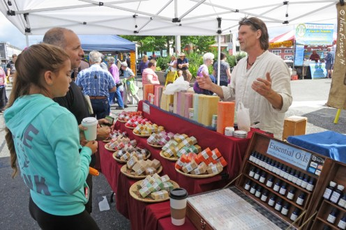 Chatting with the soap maker at the famers market
