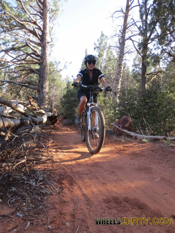 Anneka riding on the HT trail single track.