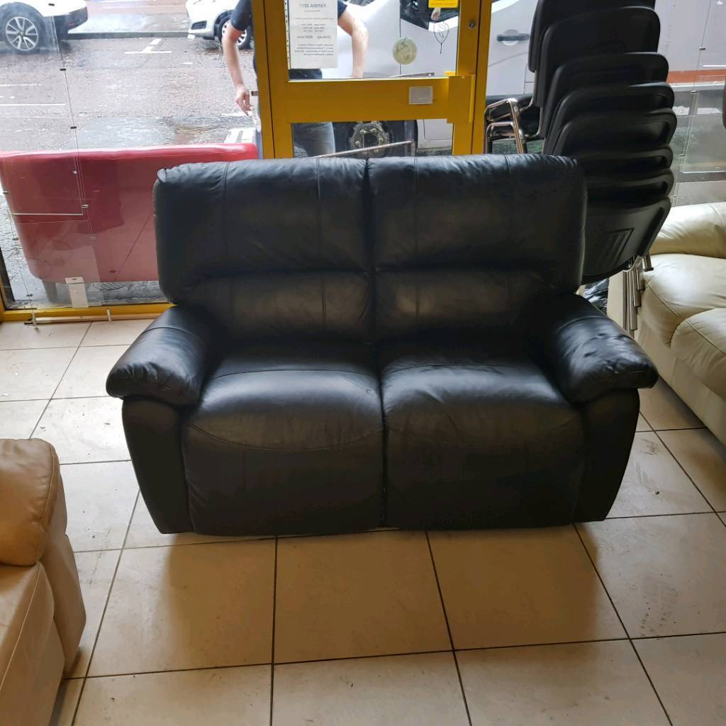 2 Seater Sofa In Black Leather All Reclining Whelans Quality Used Furniture