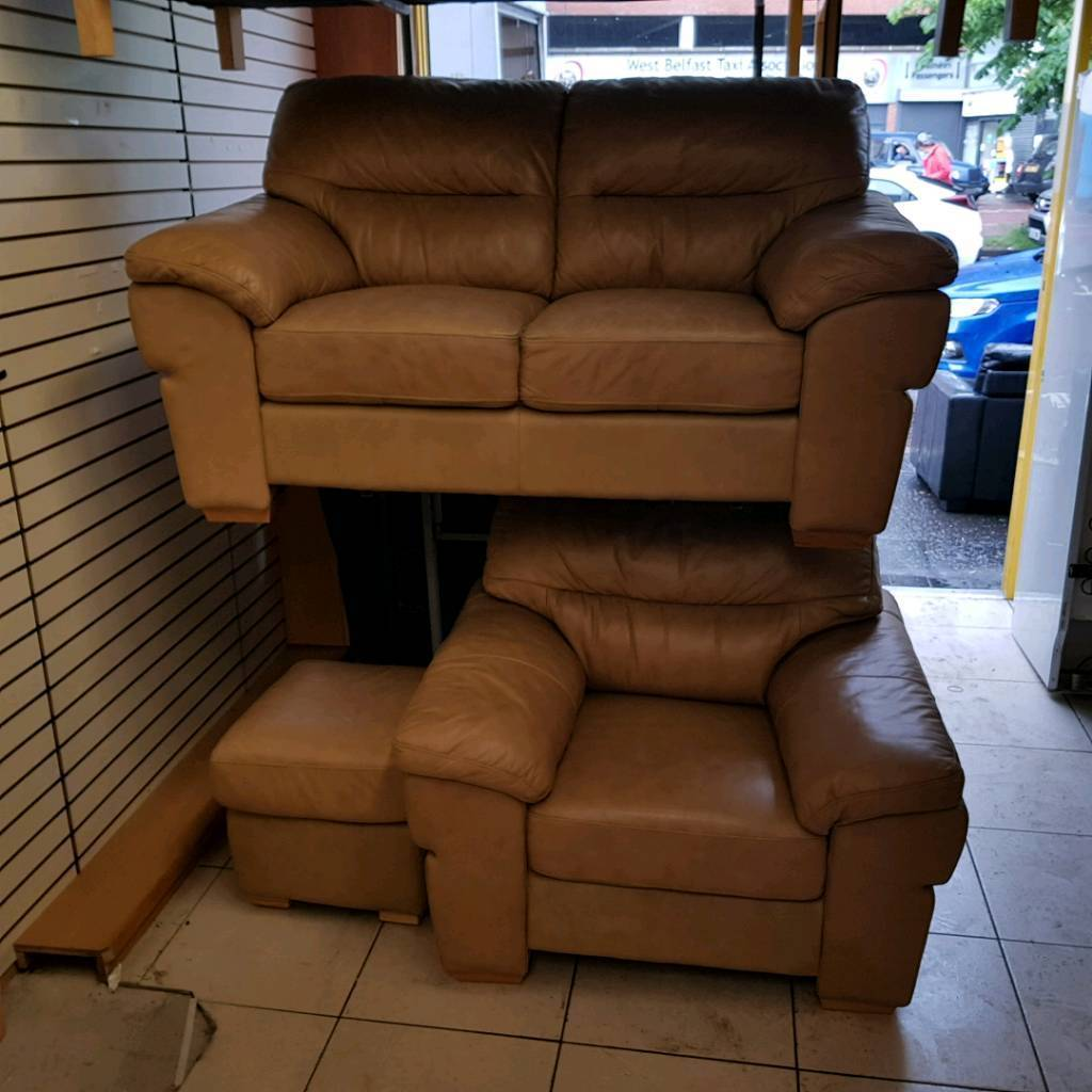 2 Seater Sofa Armchair And Puffee In Tan Leather Whelans Quality Used Furniture