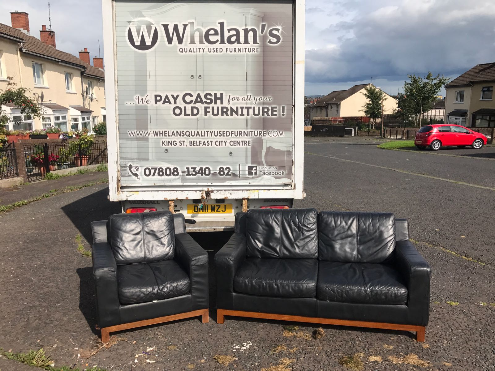 2 Seater Sofa And Armchair With Wooden Trim And Feet Whelans Quality Used Furniture