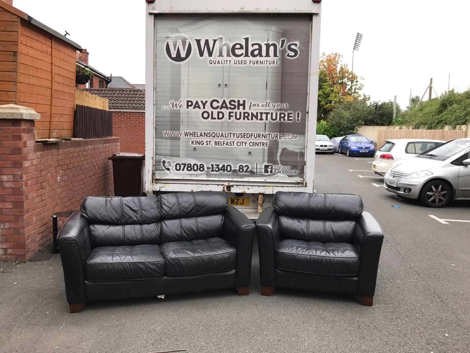 2 Seater Sofa And Armchair In Black Leather Whelans Quality Used Furniture