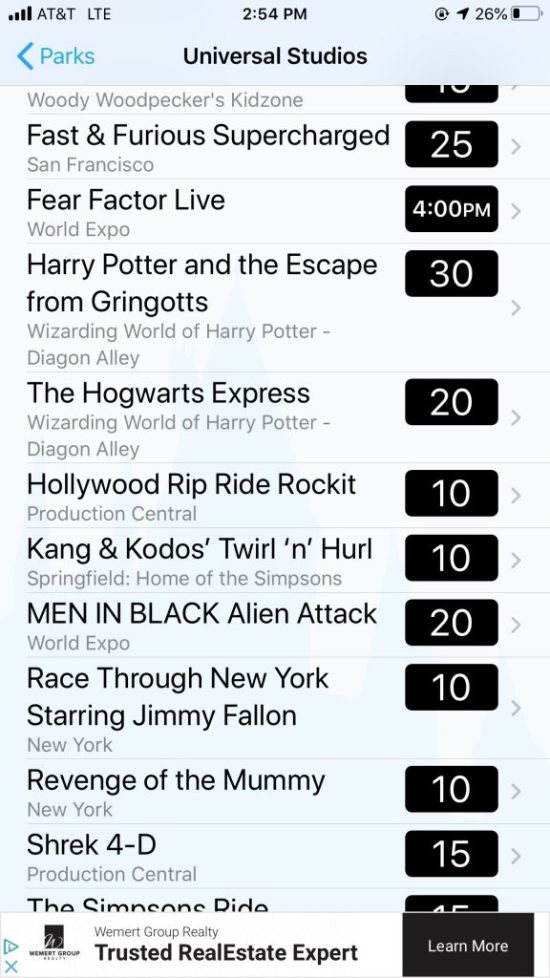 In this post I share many details about our day at the Universal Orlando theme parks, including information about a helpful app, wait times, crowded and light areas, and more. Enjoy! These parks are truly so much fun for the whole family. I hope you find this post helpful in your vacation planning.