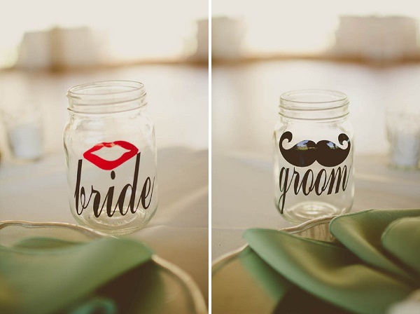 bride groom mason jam jars