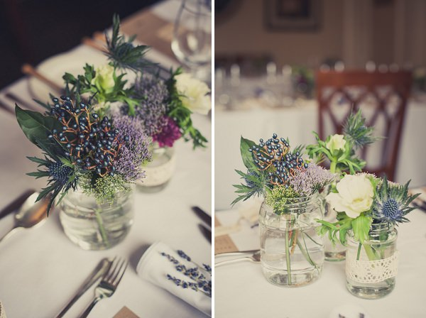 natural wild flowers centrepieces thistles