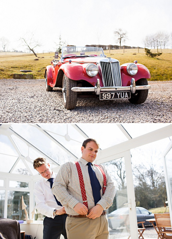 classic sport car wedding transport
