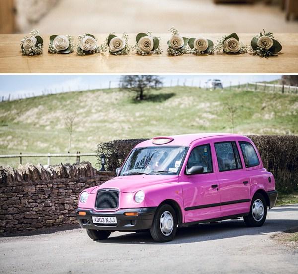 pink taxi wedding
