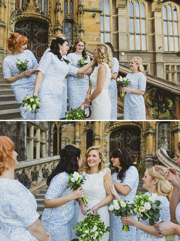 blue bridesmaids dresses white bouquets