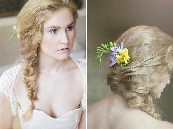rustic plait wedding hair flowers
