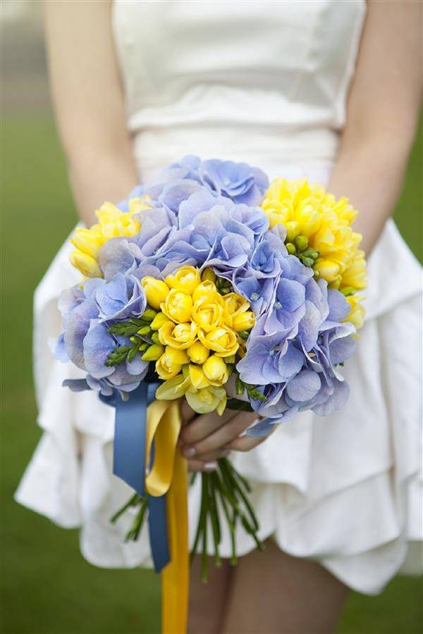 purple yellow bouquet flowers wedding