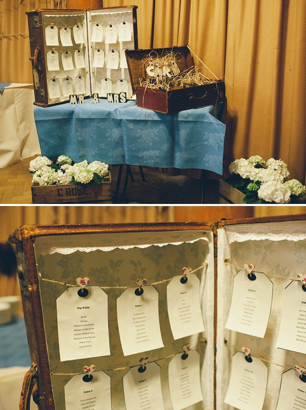 suitcase table plan wedding