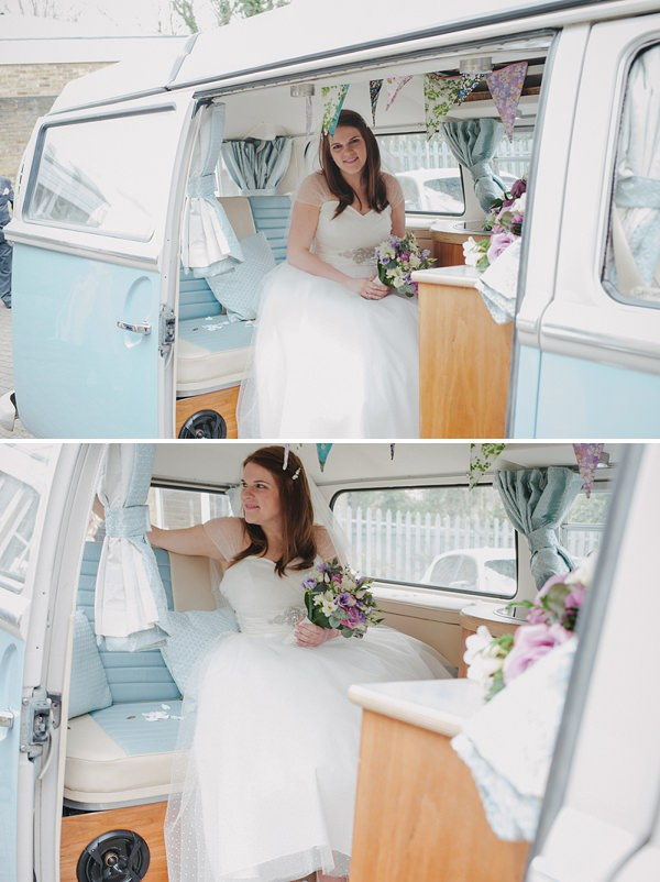 vw camper wedding transport bride