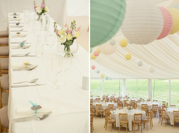 pretty pastel marquee wedding lanterns