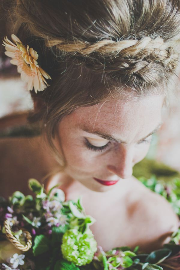 plaited beehive wedding hair bridal style
