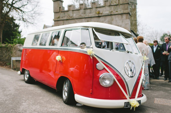 red vw camper wedding
