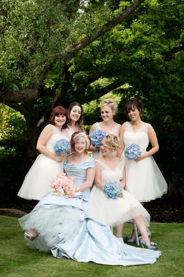 white bridesmaid dresses blue bouquets http://www.jasminephotography.co.uk/