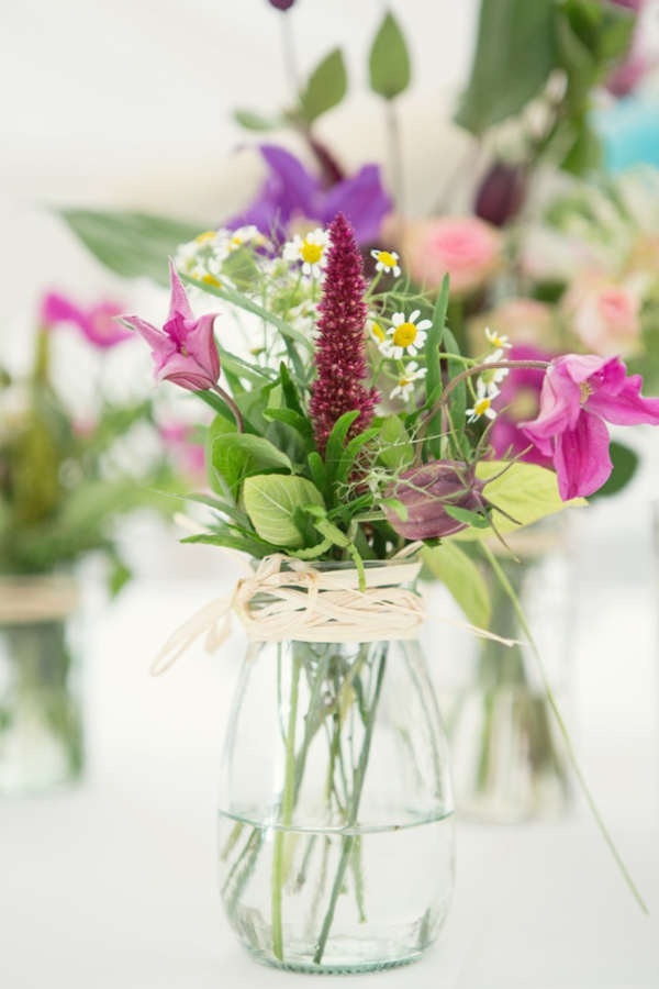 flowers in jars bottles homegrown diy wedding - Debs Ivelja Photography http://www.debsivelja.com/