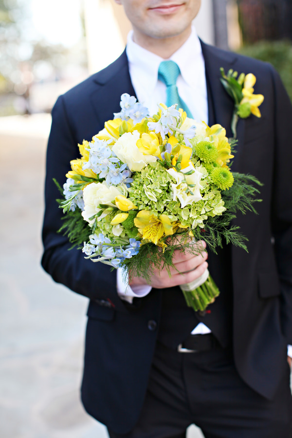 yellow green blue wedding bouquet Glamorous Mill Wedding North Carolina http://whiteboxphoto.com/