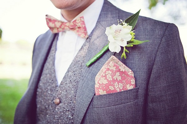 Pink Print Bow Tie Groom http://www.sarahjanesphotography.co.uk/